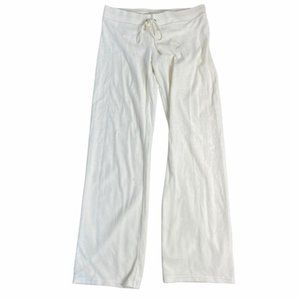 JUICE COUTURE Women's Vintage Y2K White Velour Track Lounge Pants Size Small